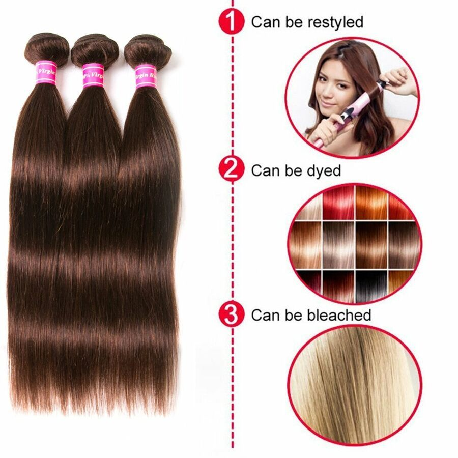 8a Brazilian Weave Straight Hair Extensions 3 Bundles Mixed Length