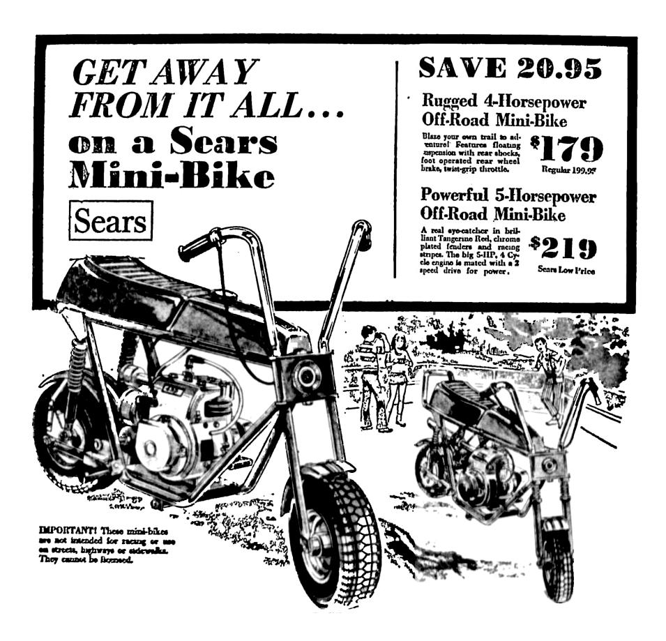 Sears Mini Bikes - May 1971 | 1970\'s & 1980\'s Newspaper Vintage ...