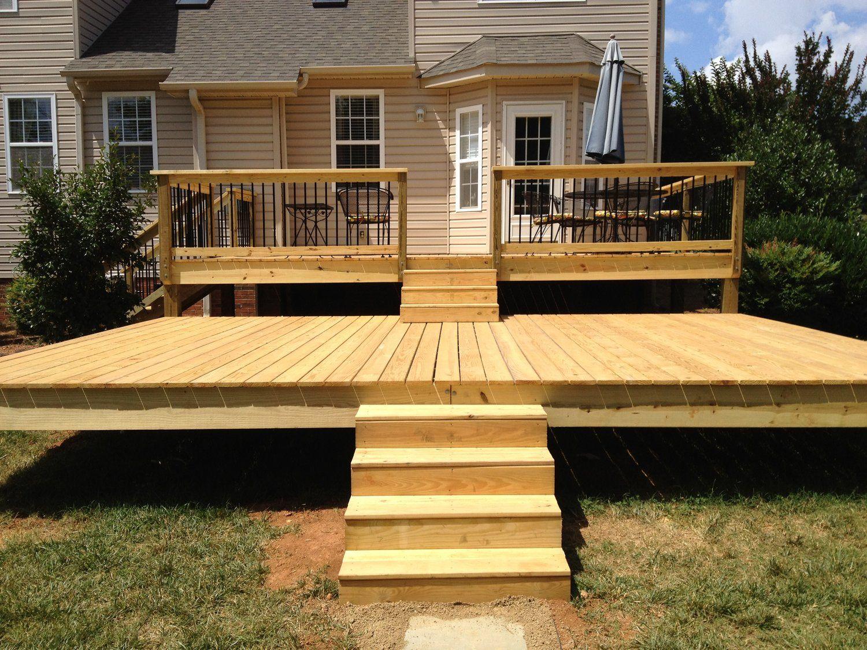 Two Tier Deck Complete 2 Jpg Tiered Deck Wooden Pool Deck Patio Deck Designs