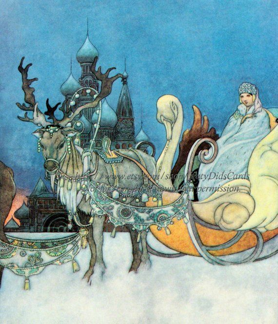 Russian Princess Magnet Snow Queen Reindeer Sleigh - Charles Robinson