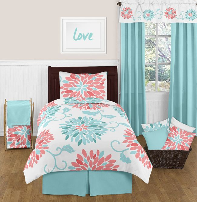 Modern Coral White And Turquoise Floral Twin Bedding Set For Girls