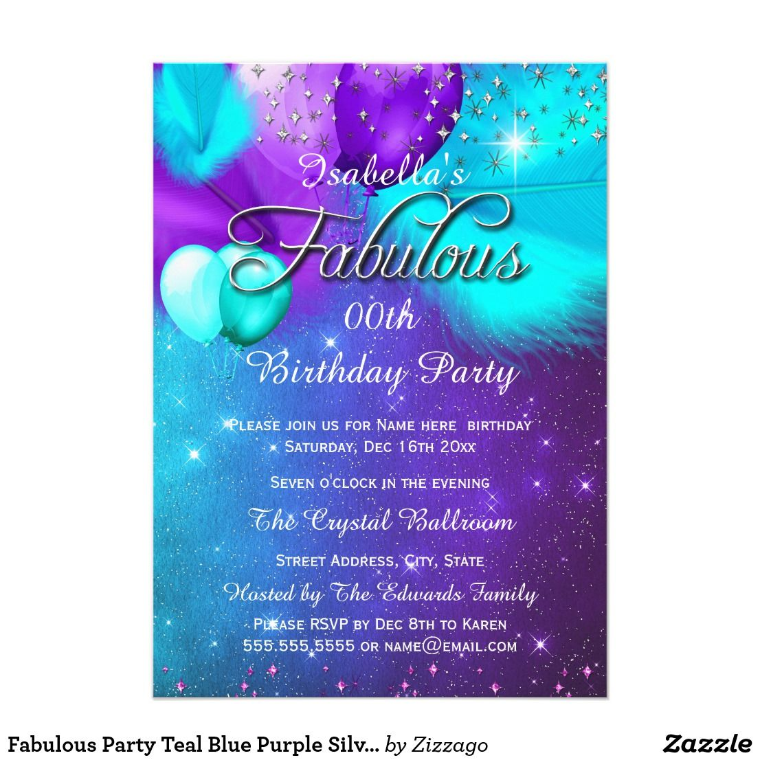 Fabulous Party Teal Blue Purple Silver Balloons Invitation ...