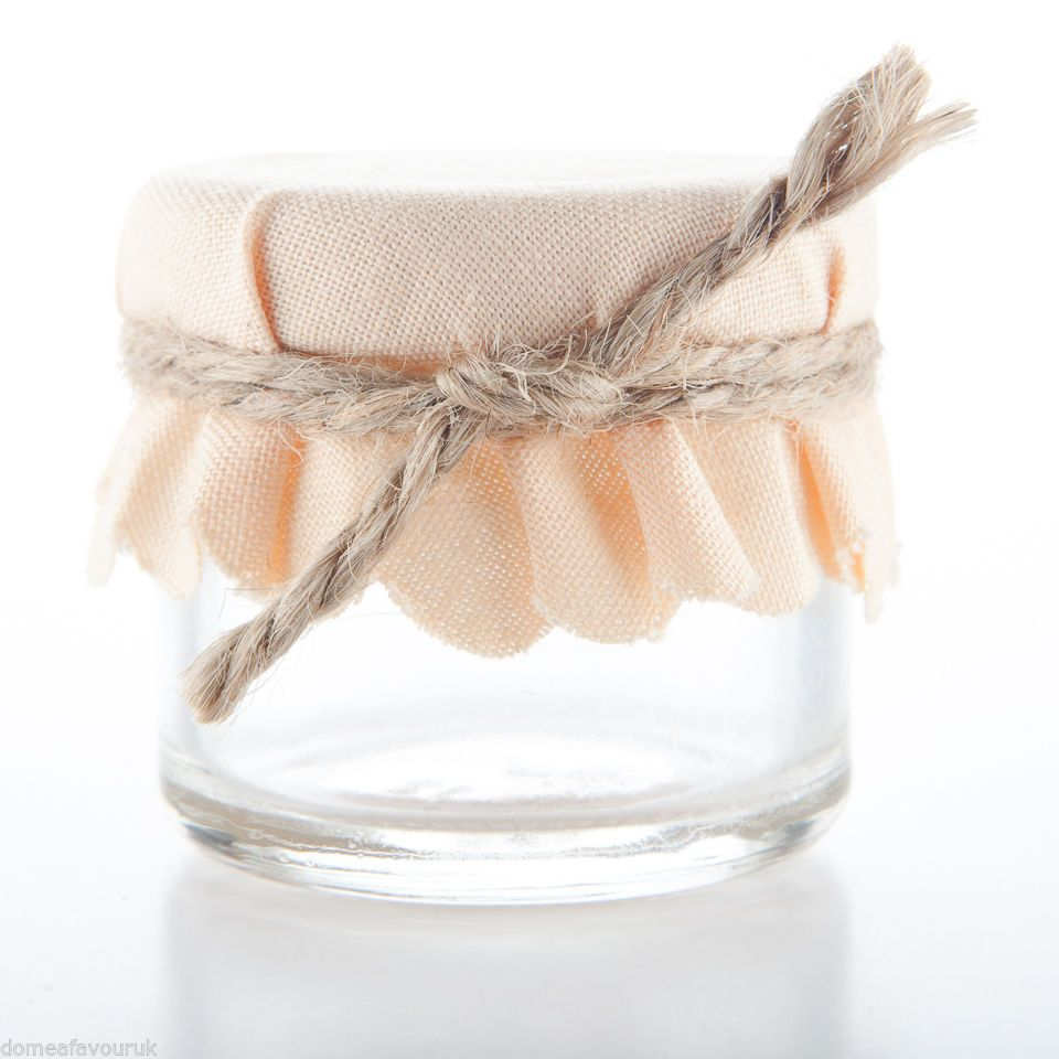 Plain Peach Mini Jam Jar Wedding Favours Shabby Chic Rustic Tea ...