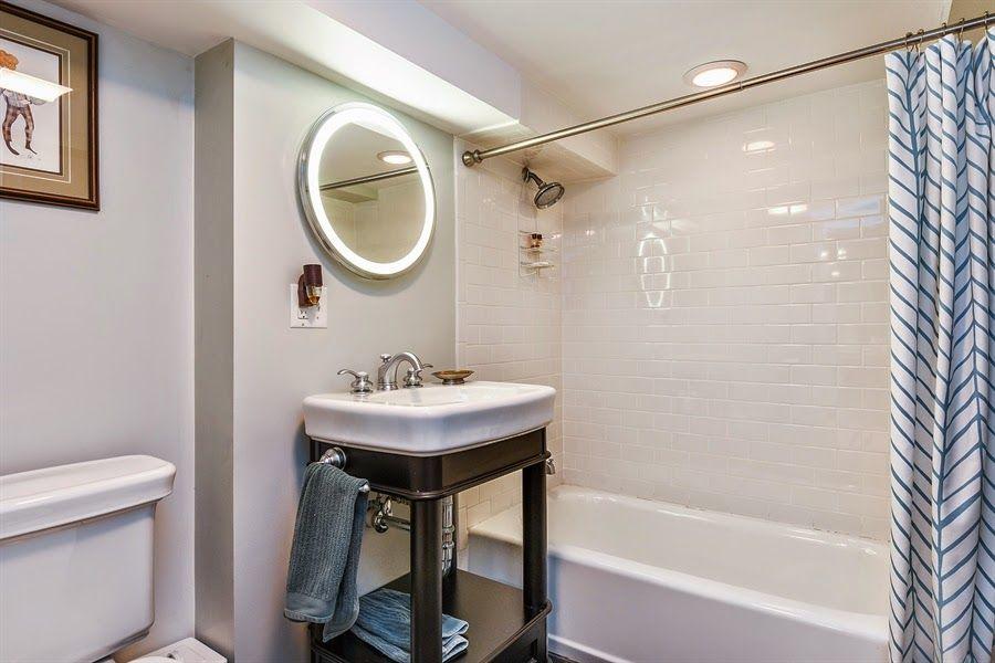 small basement bathroom with white subway tile, stonington gray walls. Home With Keki: Feature Friday // 2103 Washington