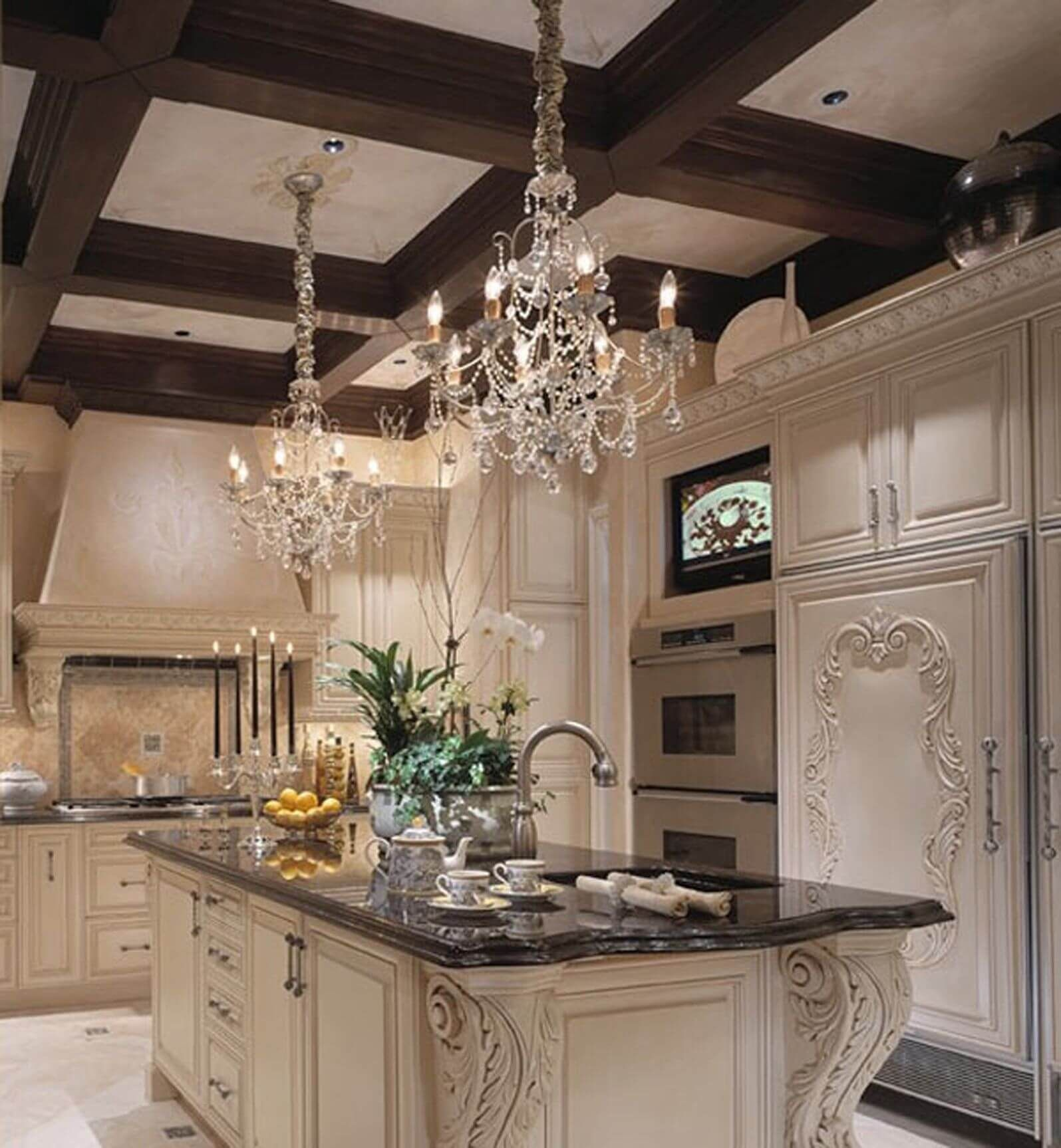 Traditionally Ornate Look In This Kitchen, With Filigreed Wood Details