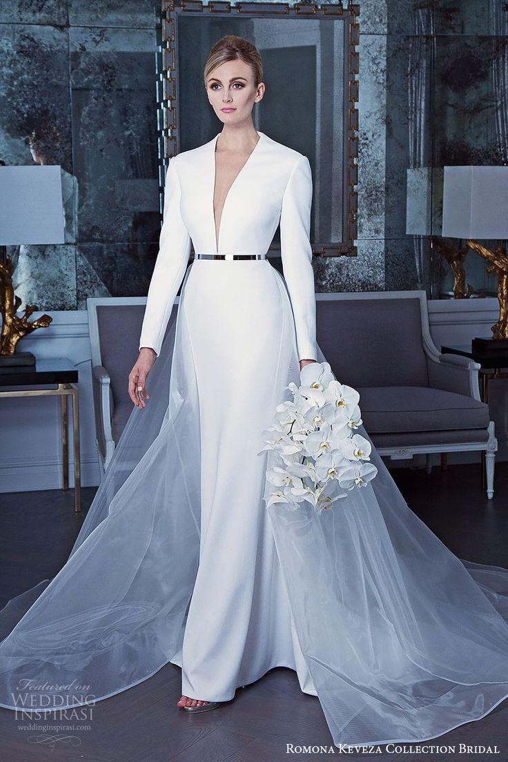 Romona Keveza Fall 2019 bridal long sleeves sheath wedding dress a line sheer overskirt clean elegant minimal modern - Romona Keveza Collection Bridal Fall 2019 Wedding Dresses | Wedding Inspirasi #wedding #weddings #bridal #weddingdress #bride