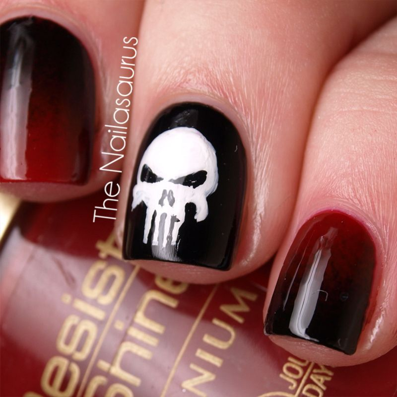 The Punisher Nail Art! | Diseños de uñas y Belleza