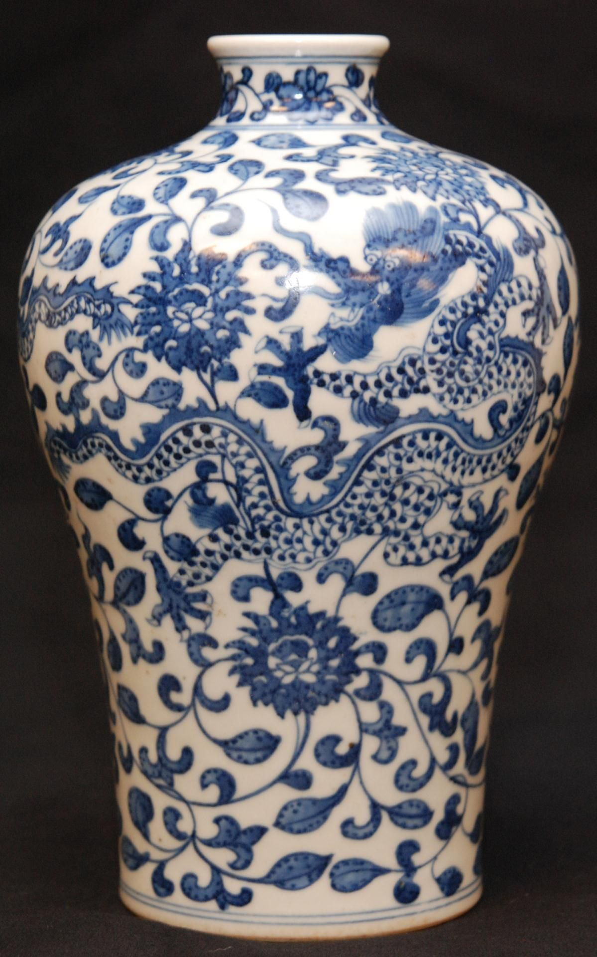 Blue and white pottery - Blue And White Pottery Marks Chinese Qianlong Porcelain Dragons Vase Chinese Qing Dynasty Qianlong Hand