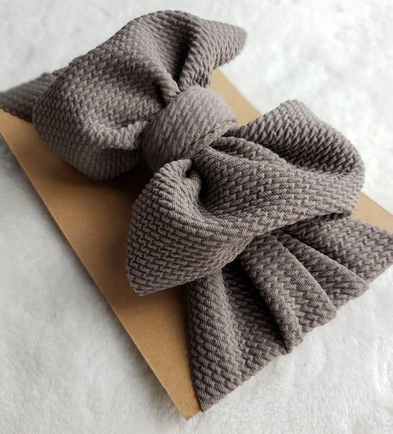 Mocha, mocha bow, headwrap, newborn bow, toddler bow, big bow, fabric stretch head wrap, baby bow   - Products -
