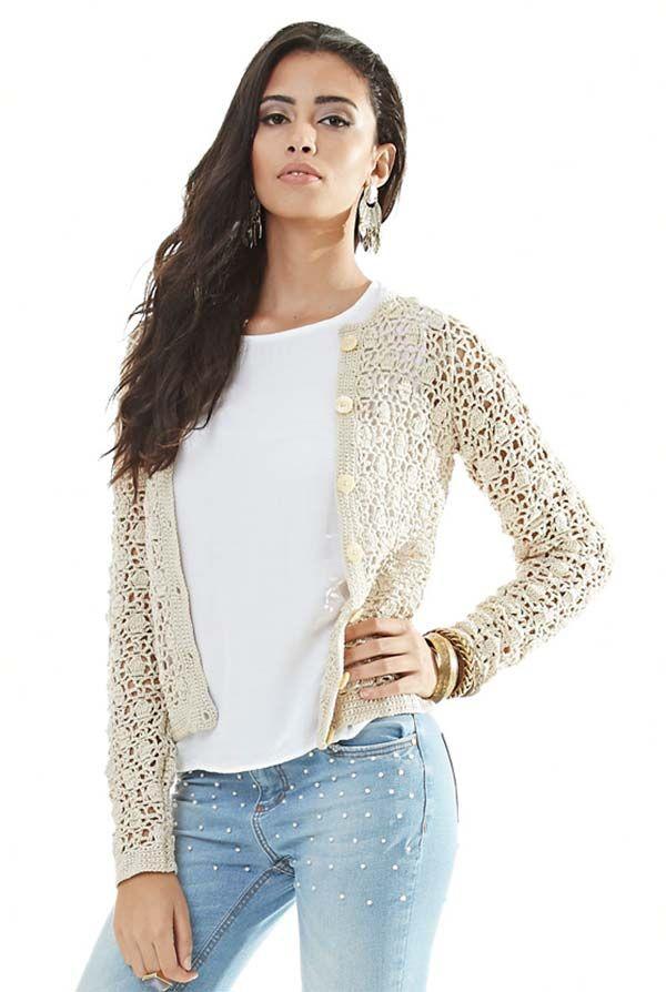 17062b5dc55 Casaco de crochê lã tricot- Moda Peça que sempre se renova a cada inverno