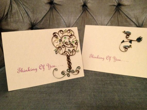 Quilled Thinking of You Cards by jgaCreations on Etsy, $4.00