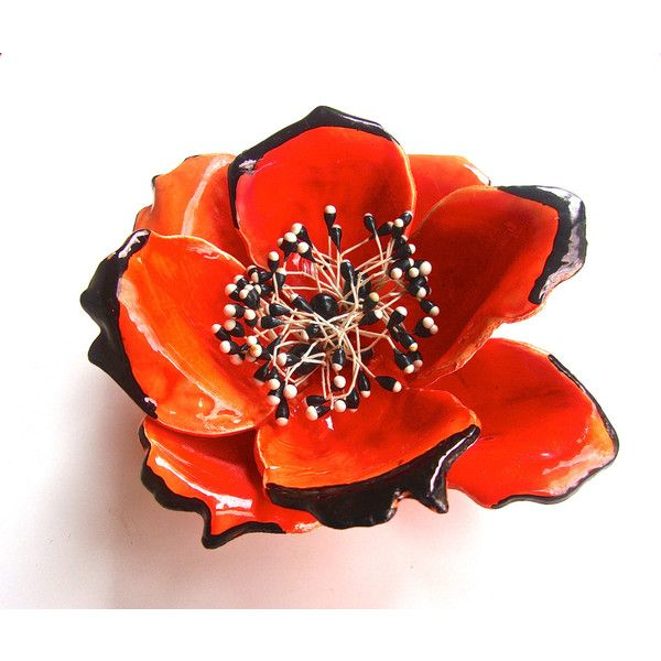 Huge Flower French Brooch, Hand Painted Orange Poppy, Art Deco '70s... (79.820 COP) ❤ liked on Polyvore featuring jewelry, brooches, orange blossom jewelry, vintage flower jewelry, flower broach, vintage jewelry and vintage broach