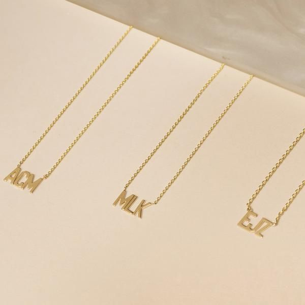 3df8fb7edf0f56 Triple Initial Necklace in 2019 | Wants. | Initial necklace, Stone ...