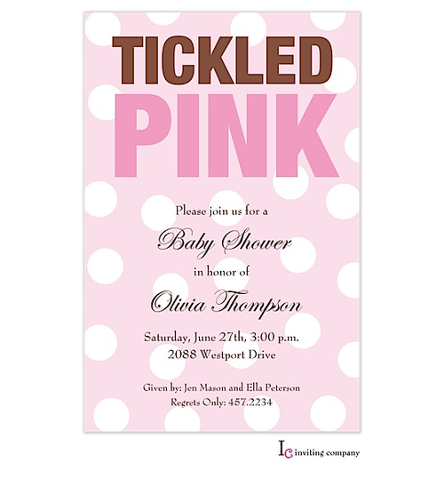 Tickled Pink Invitation Think Pink Invitations Baby Shower