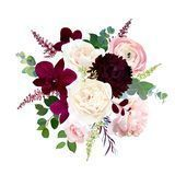 #fall  #flowers  #vector  #bouquet.  #Dark  #orchid,  #garden  #rose,  #burgundy  #red  #dahlia,  #ranunculus,  #astilbe,  #agonis,  #seeded  #eucalyptus  #and  #greenery.  #Autumn  #wedding  #vector  #illustration #Luxury #  Luxury #astilbebouquet
