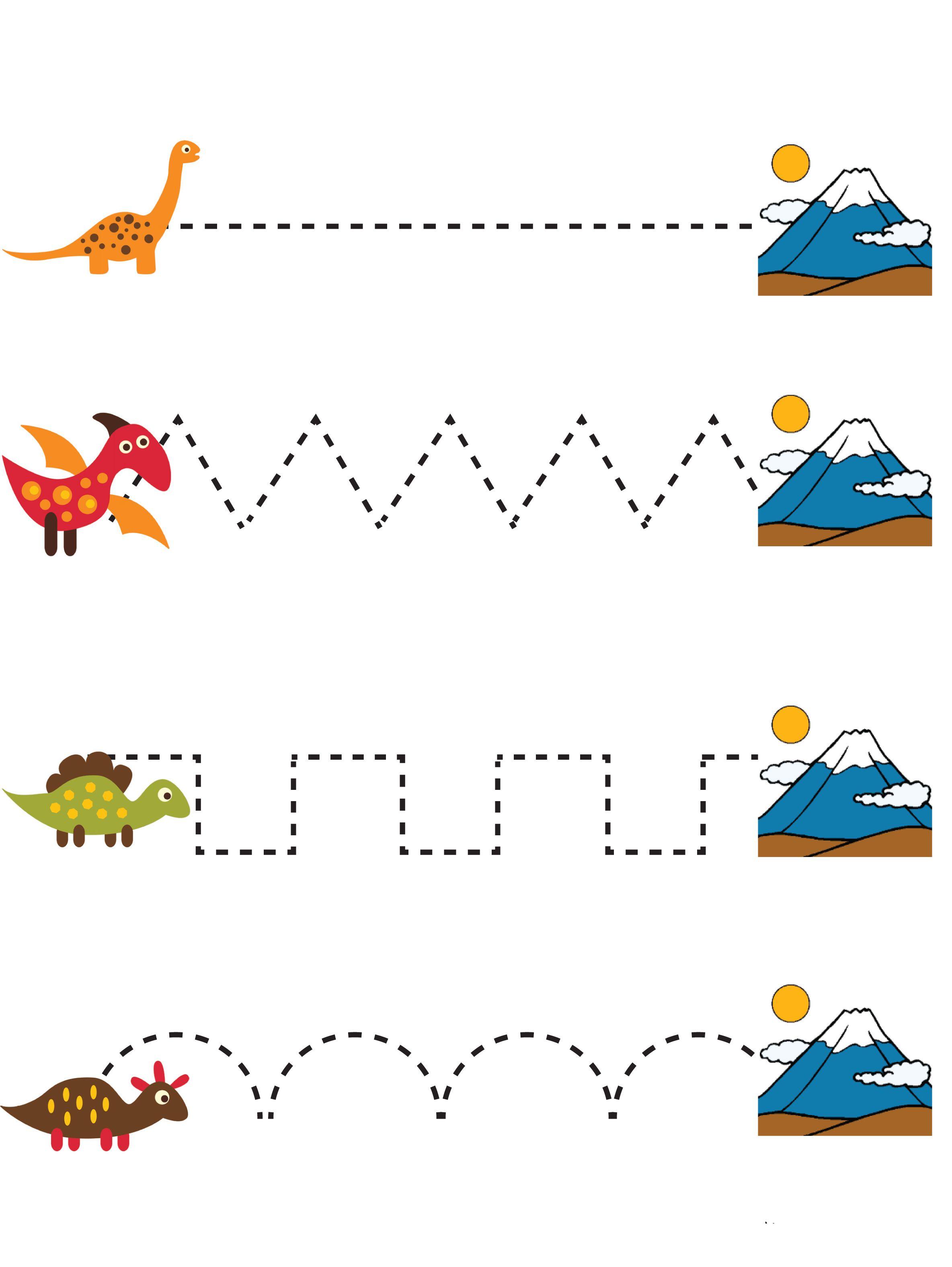 werkblad motoriek dino 39 s dinosaurs pre writing preschool pre writing practice. Black Bedroom Furniture Sets. Home Design Ideas