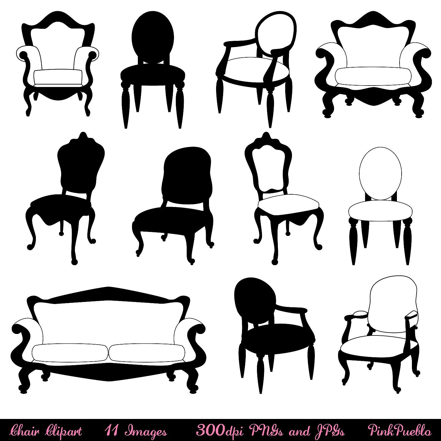 Antique chair silhouette - Chair Clip Art Clipart Chair Silhouettes Furniture Clip Art Clipart Decor Clip Art Clipart Commercial And Personal Use