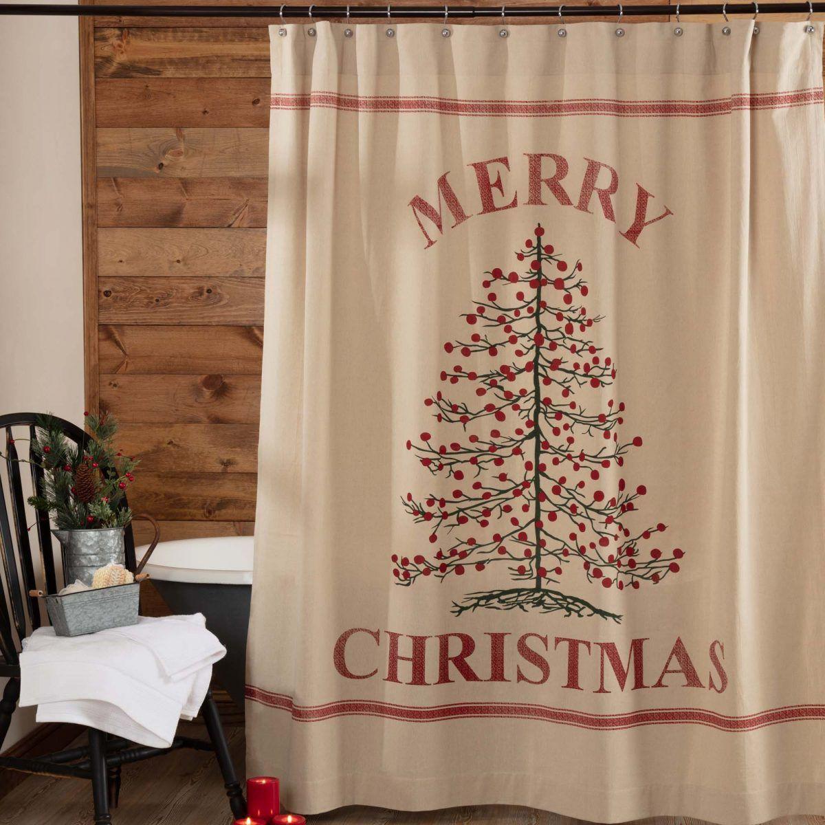 Holiday Tree Stenciled Shower Curtain Christmas Bathroom Decor