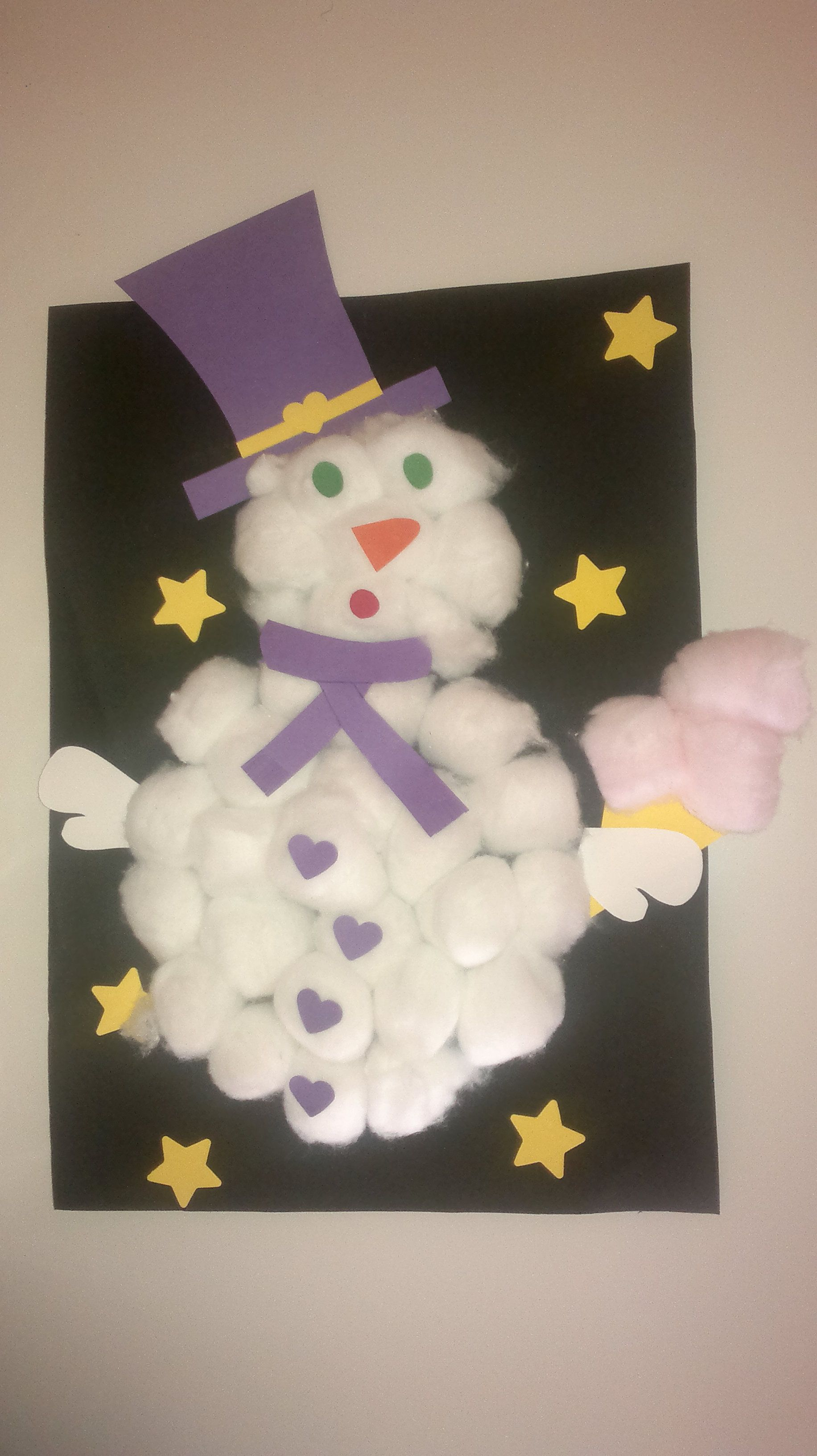 bonhomme de neige en coton et canson fait par ma puce 3. Black Bedroom Furniture Sets. Home Design Ideas