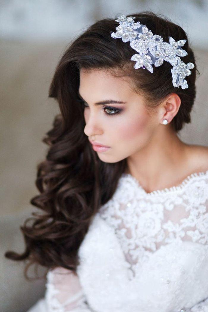 Braut haarschmuck offene haare  brautfrisur langes haar locken haarschmuck - Google-Suche ...