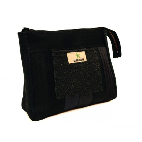 toiletry bag made from seatbelts