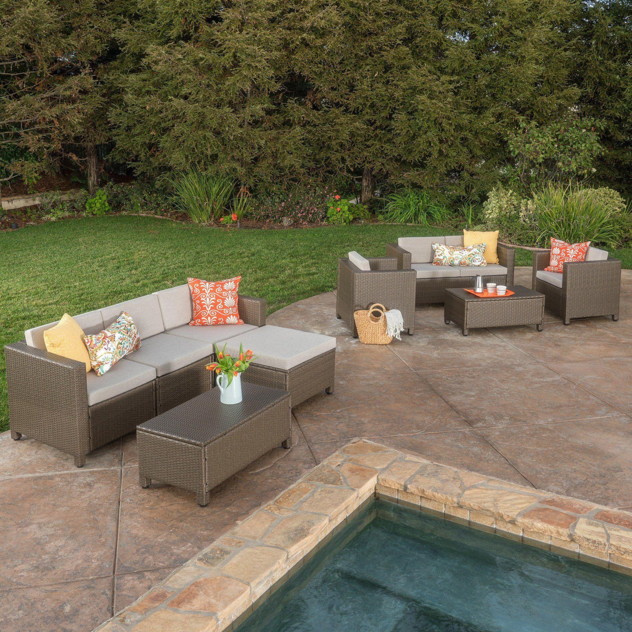 Budva 9pc Outdoor Wicker Sectional Sofa Set W Cushions