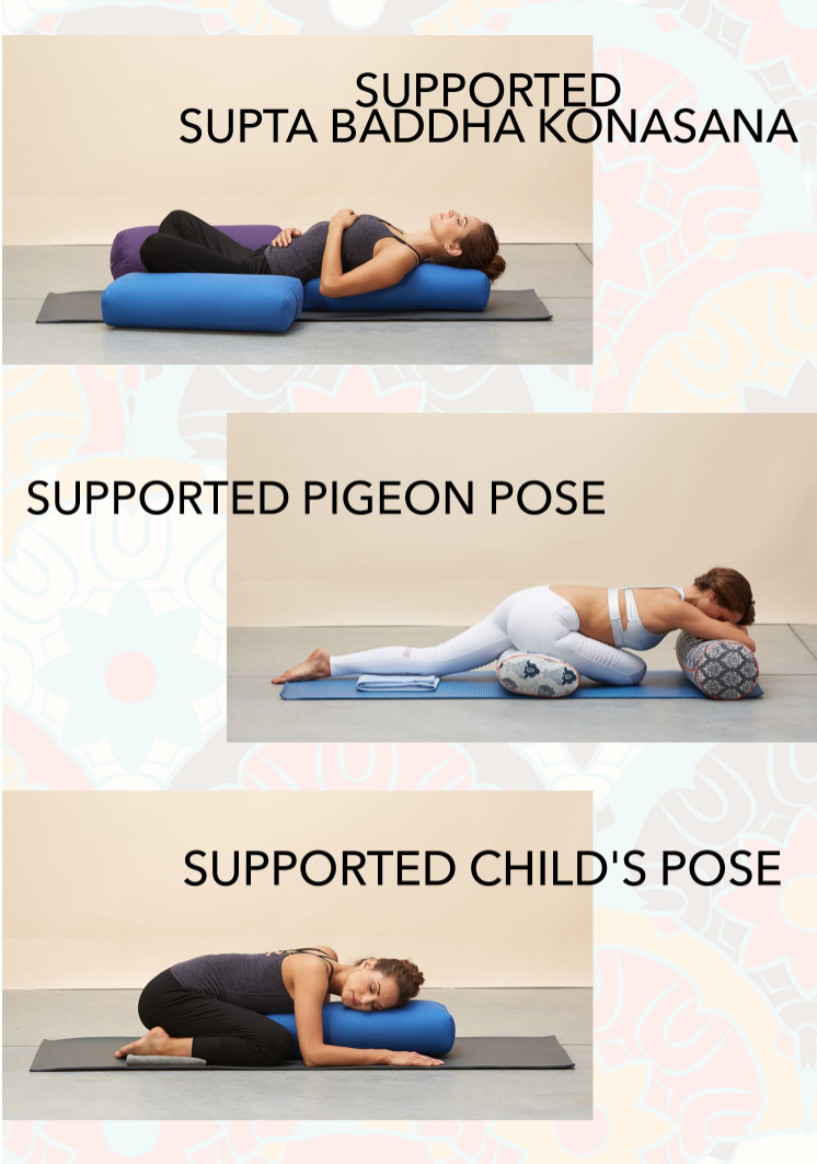 Enhance these poses with a bolster for extra support! #YogaOutlet