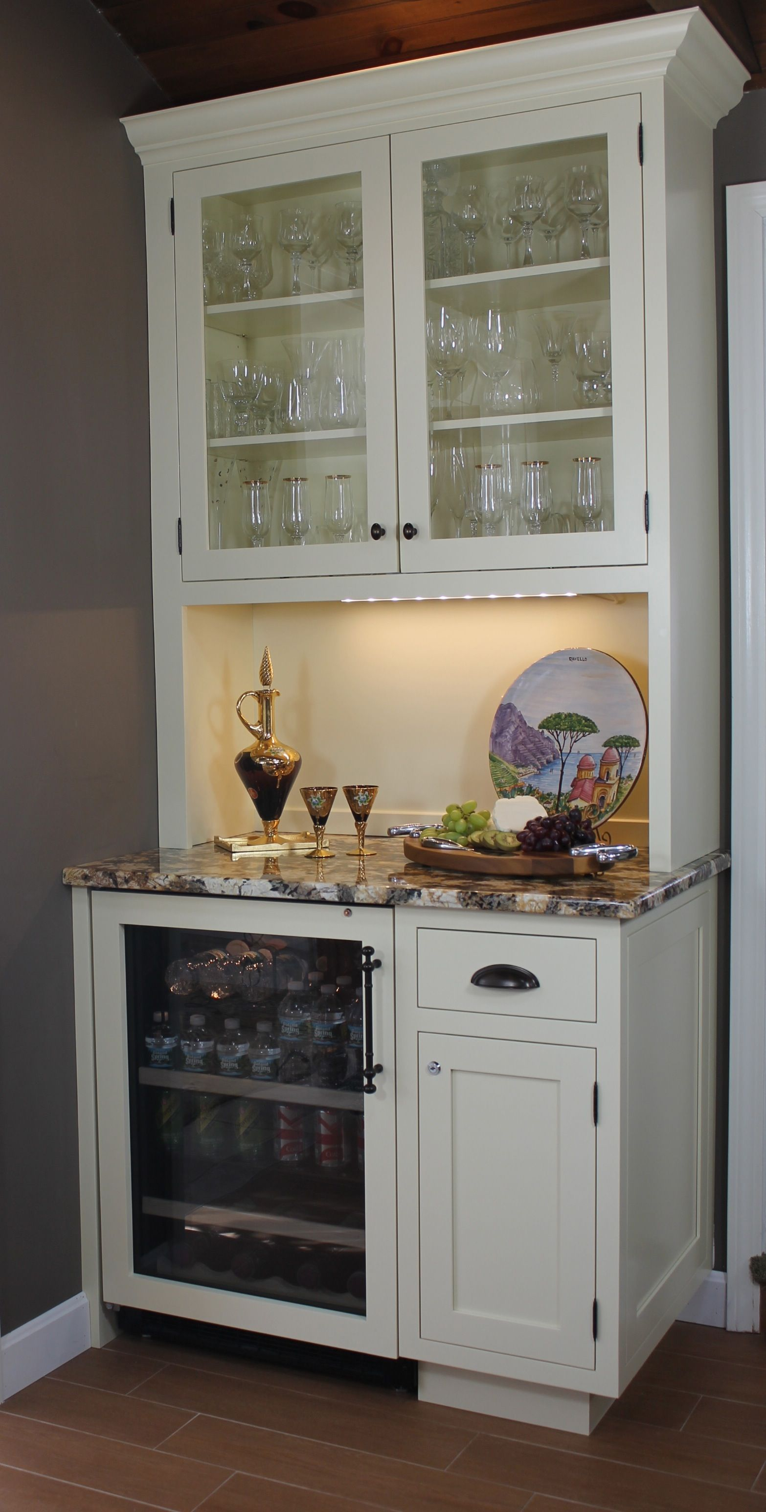 Glass door fridge kitchen - Kitchen Desk Converted To Wine Bar Google Search