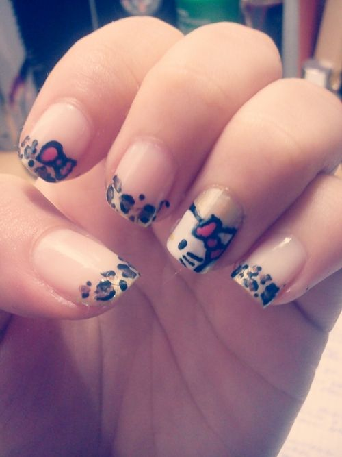 Hello Kitty Nails Nail Art Pinterest Manicura Belleza And