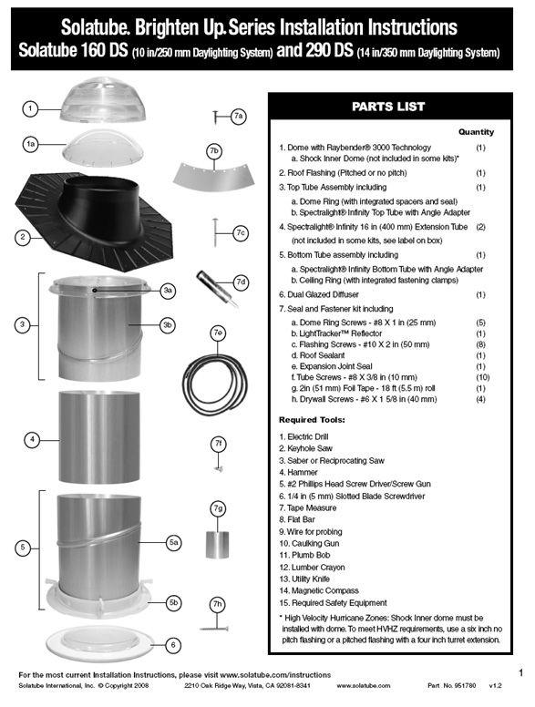 Solatube 14 290ds Solar Tube Skylight Kit Solatube