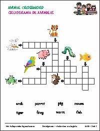 Crucigramas Animales En Inglés Para Imprimir Set 1 Crucigrama Para Niños Animales En Ingles Hojas De Inglés Para Niños