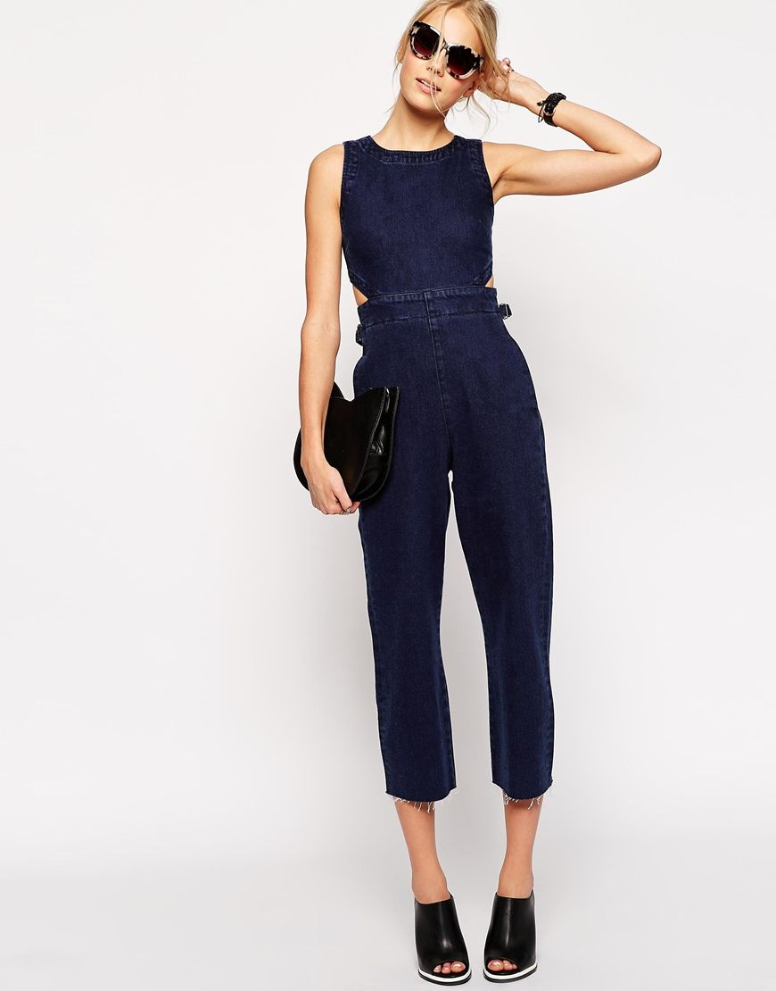 TALL Wide Leg Cut Out Denim Jumpsuit in Indigo | Dark denim ...