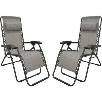 Zero Gravity Reclining Outdoor Lounge Chair 2 Pack Canopy