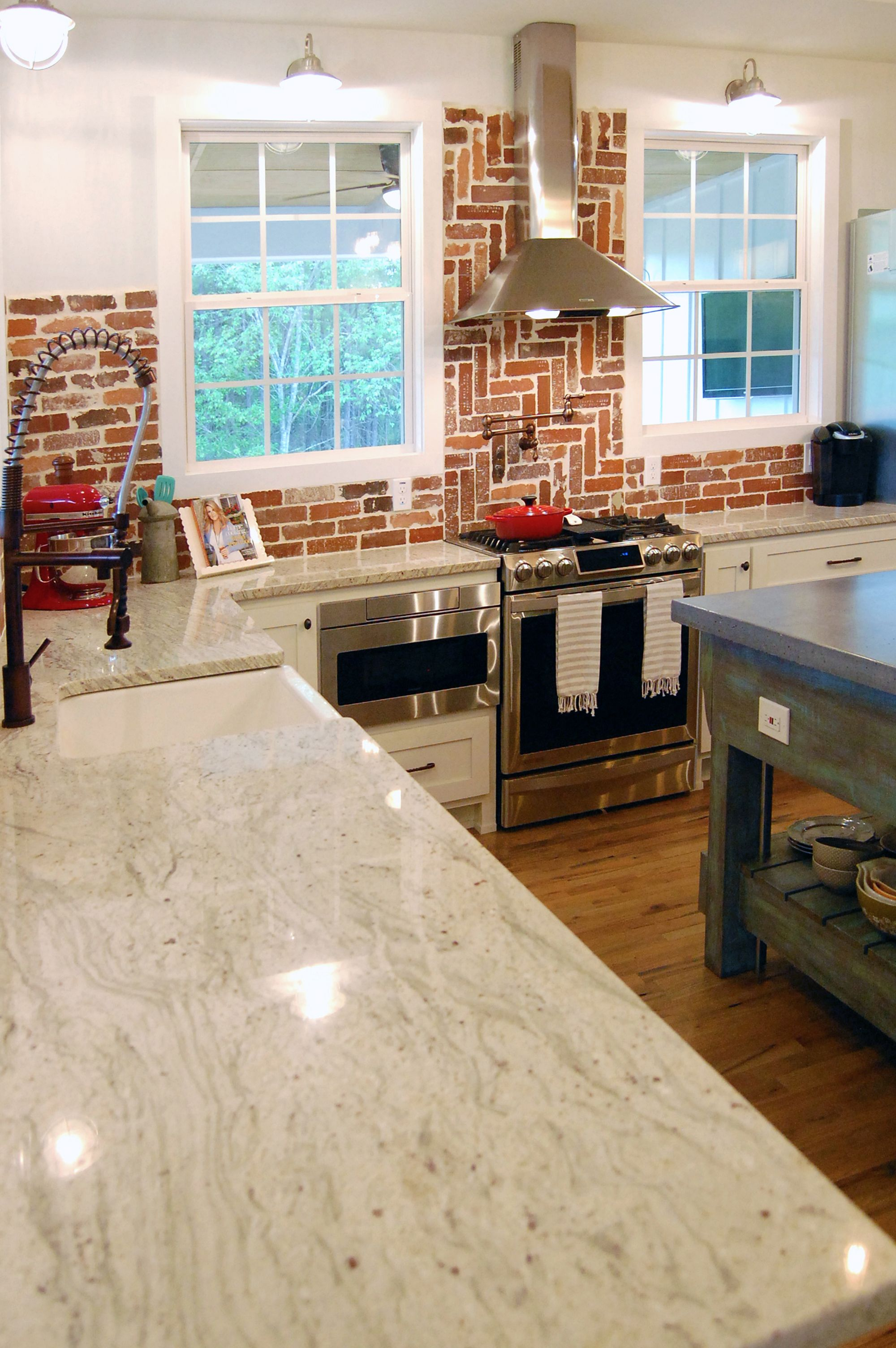 Industrial farmhouse kitchen, favorite part is the brick