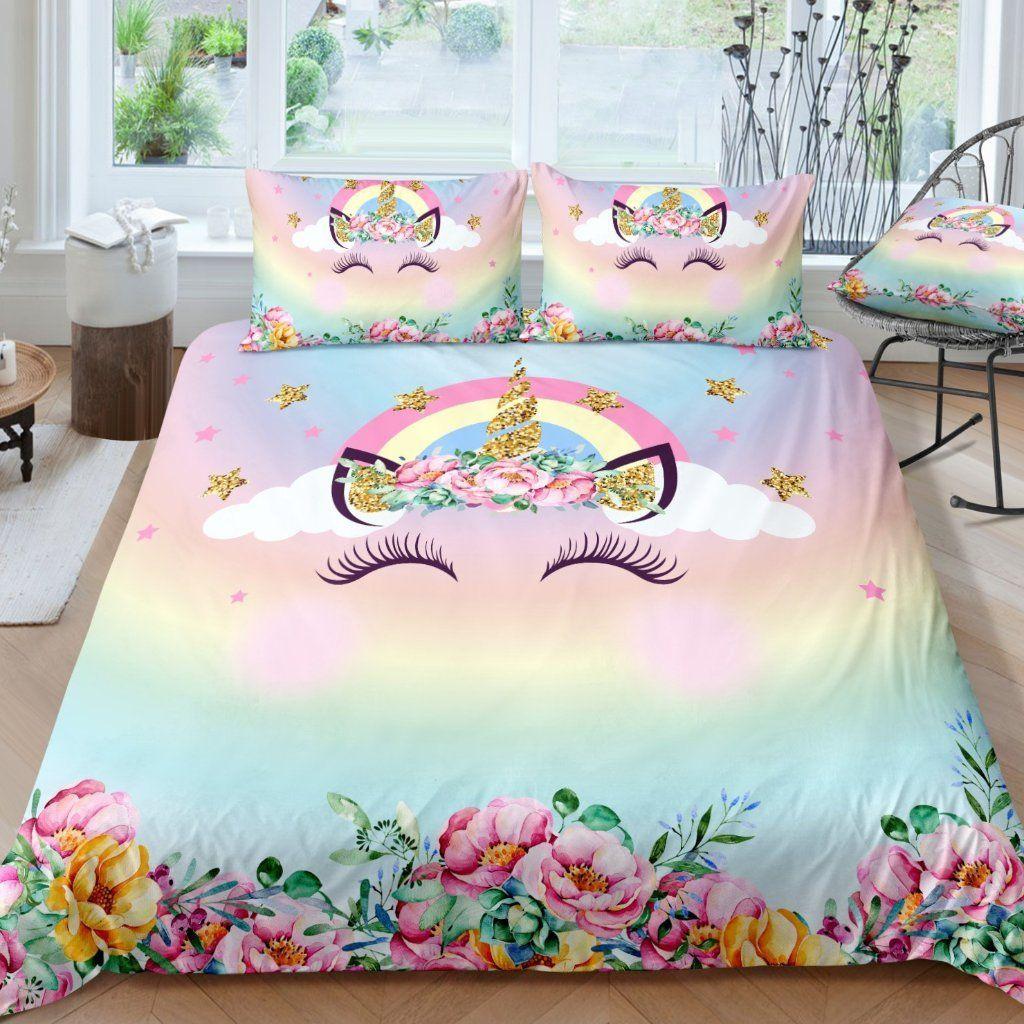 Princess Unicorn Eyelashes Bedding Set In 2019 Unicorn