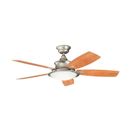 Kichler ceiling fan with light kit in brushed nickel finish