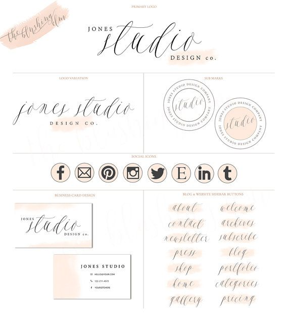 Logo Package Premade Logo Pretty Logo Graphic by TheBlushingElm