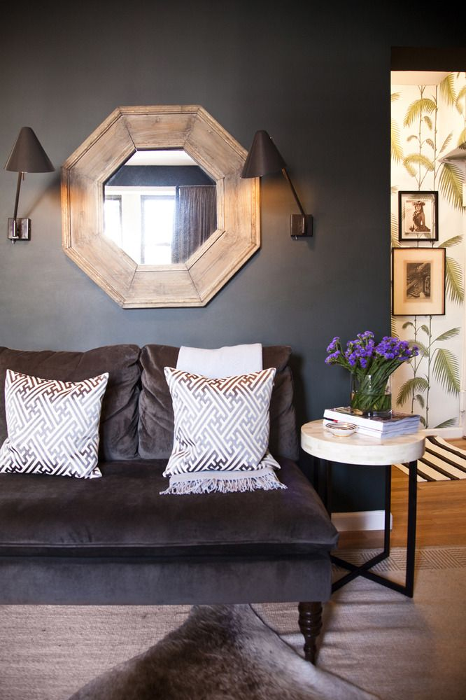 Nate Berkus Studio Sofa In Velvet Pewter Love The Contrast Of Dark Walls