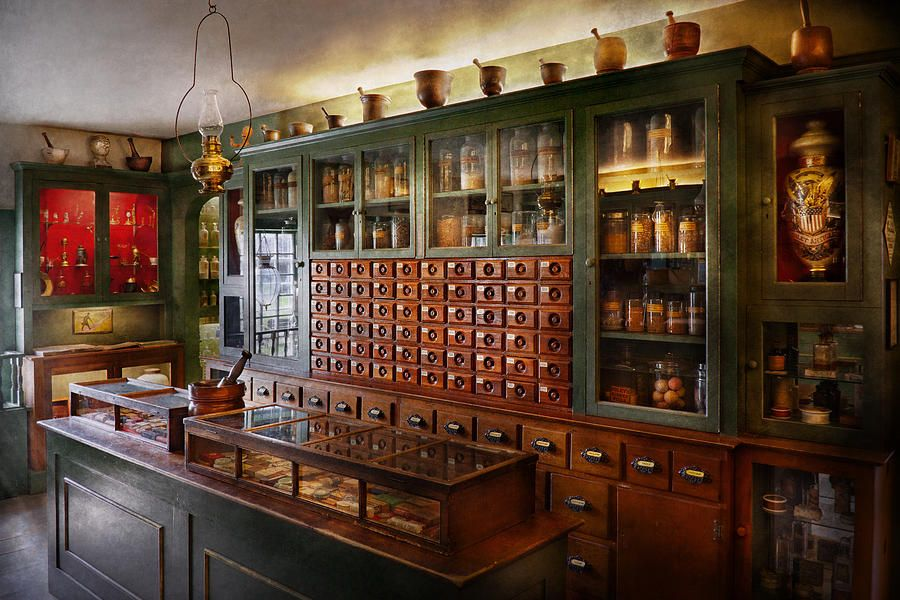 Pharmacy I Ll Be Out In A Minute By Mike Savad Apothecary Apothecary Cabinet Design