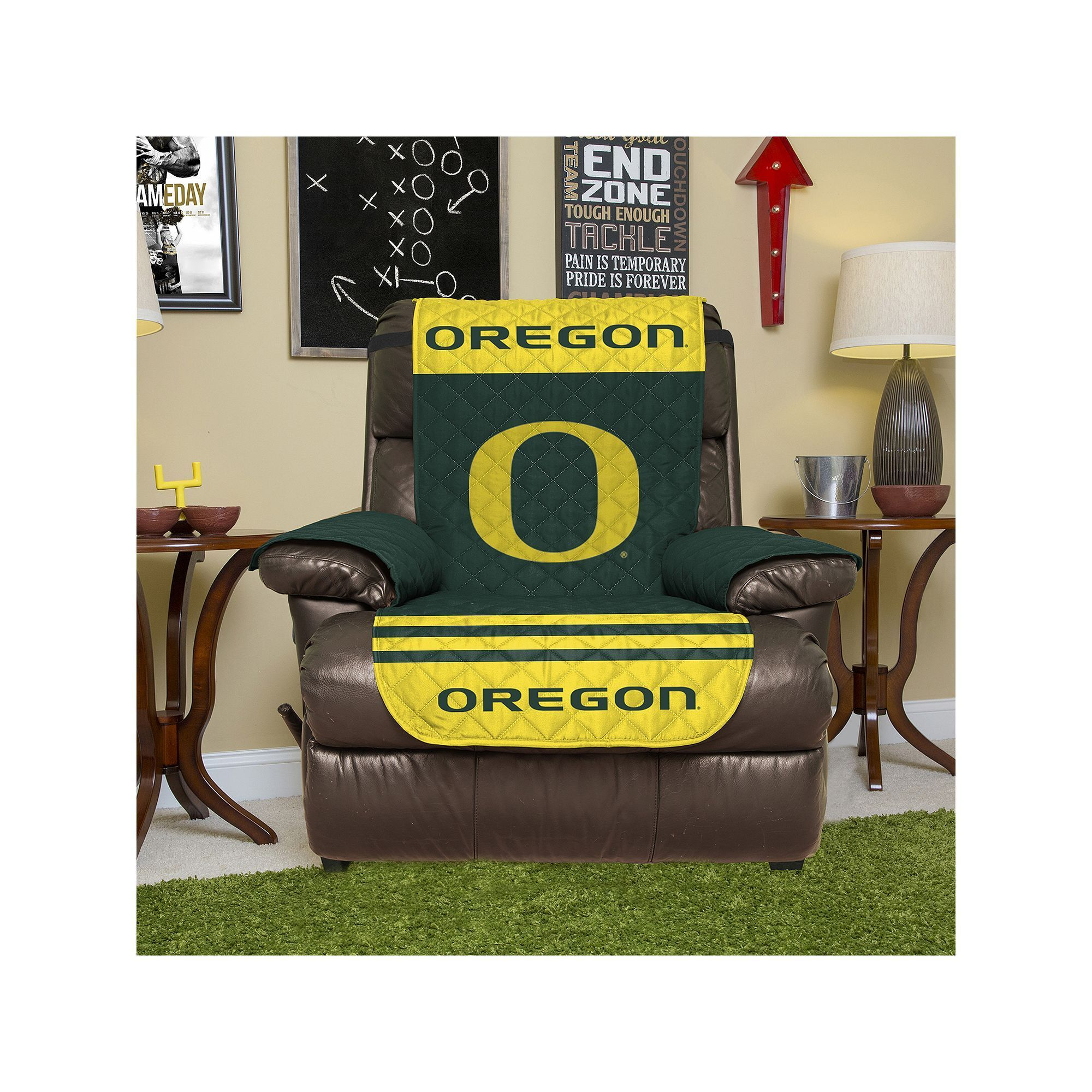 Oregon Ducks Quilted Recliner Chair Cover Green