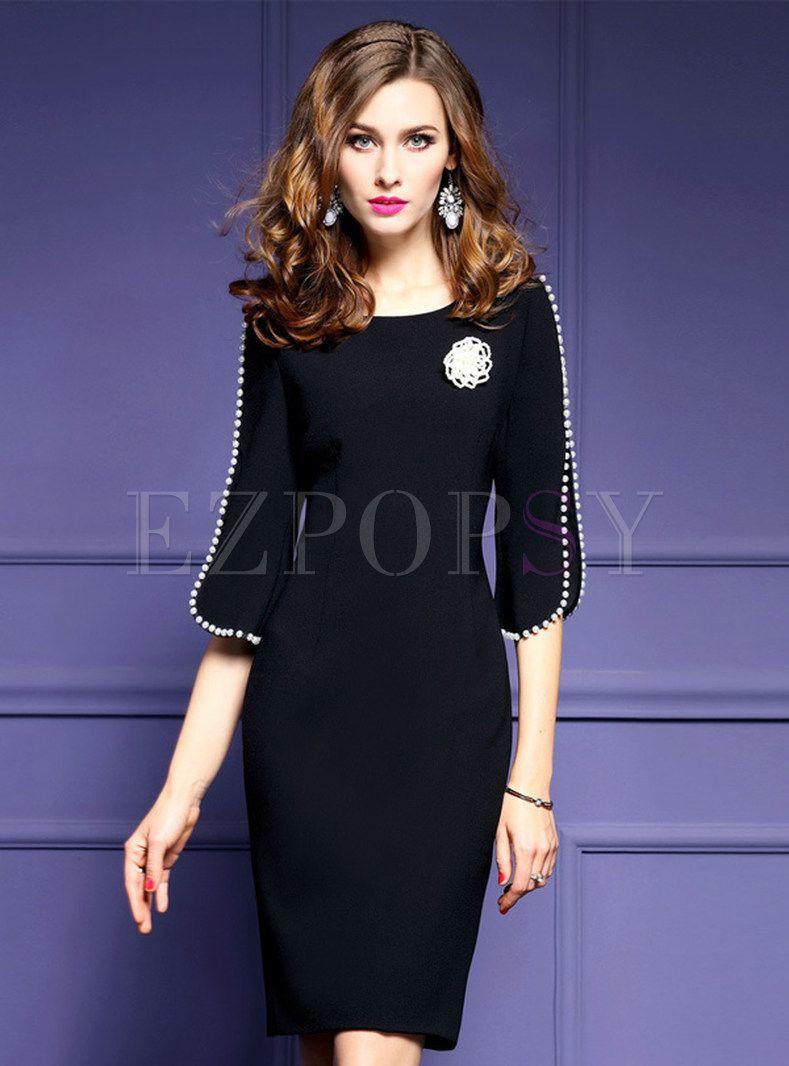 Work Slim Split Half Sleeve Bodycon Dress Without Brooch | Vestidos ...