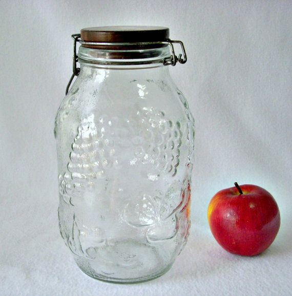 Fruit Embossed Decorative Glass Jar Wood Top Jar 40 Liter Glass Adorable Decorative Glass Storage Jars