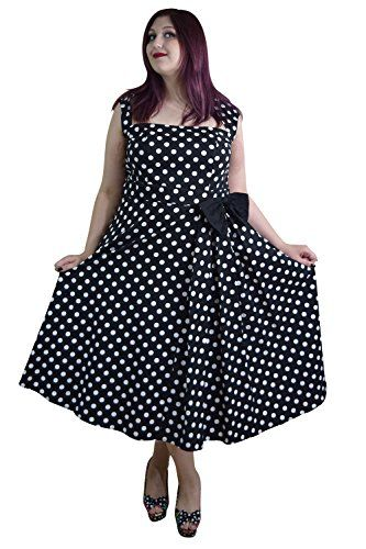 Chicstar Plus Size Vintage design Polka Dot high collar Swing dress  20W Black * Check out this great product.