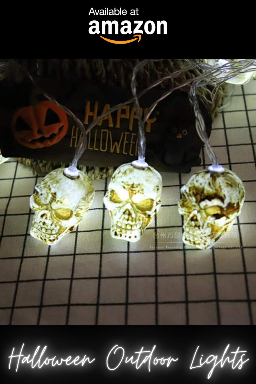 Halloween Outdoor Lights Decoration Idea, White Skull LED Lights For Garden, Walkway & Porch Ideas