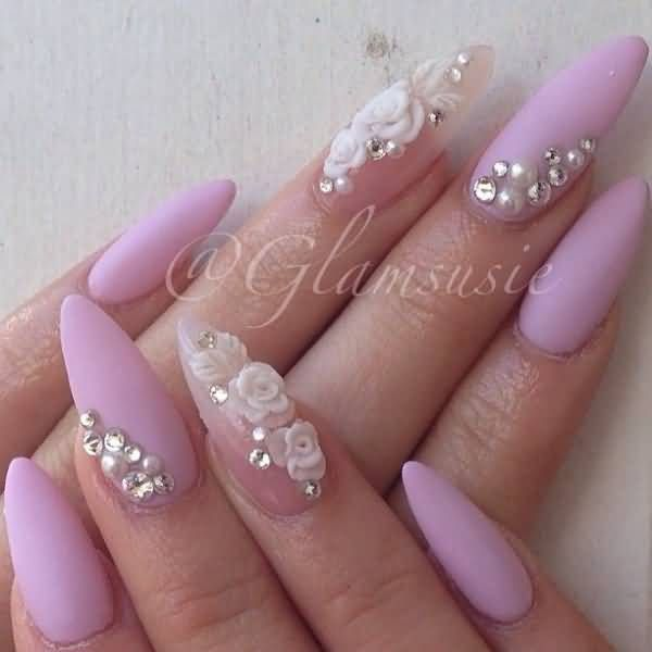 Baby Pink Nails With White 3D Rose Flowers Nail Design Idea