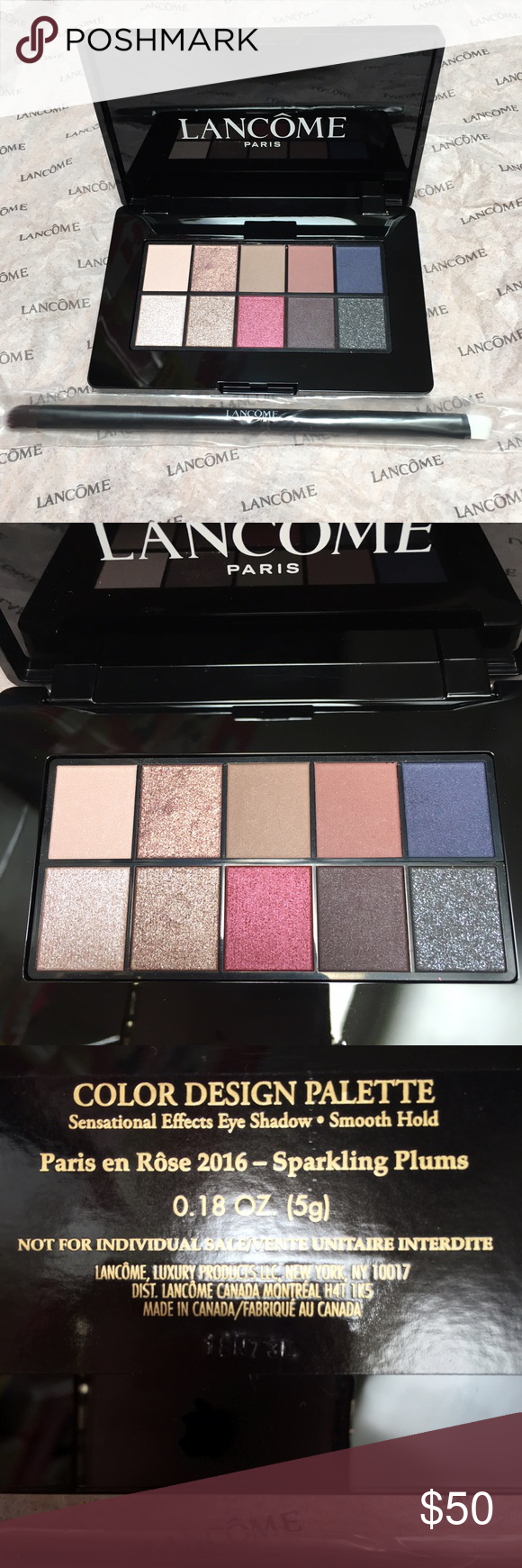 New Lancôme Eye Shadow Palette w/ Duo Brush Plums All new