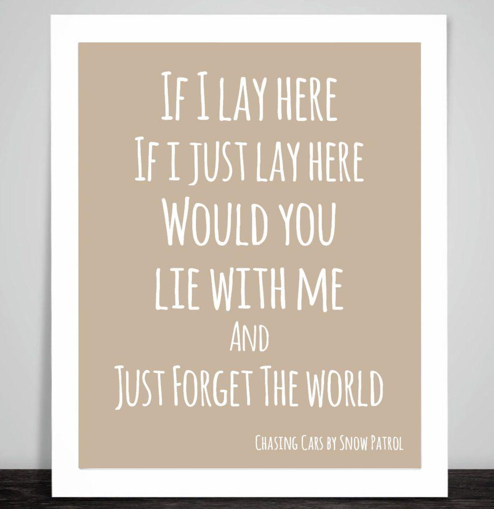 Snow Patrol Chasing Cars Music Love Song Lyric Art Print 10 Colour ...