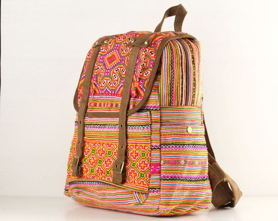 Hmong Embroidered Backpack Purse Ethnic Crossstitched by TaTonYon, $40.00