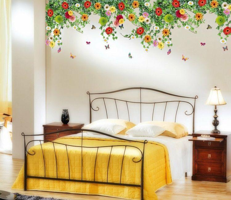 Wandtattoo Schlafzimmer Blumen Wanddekoration Romantisch Bunte