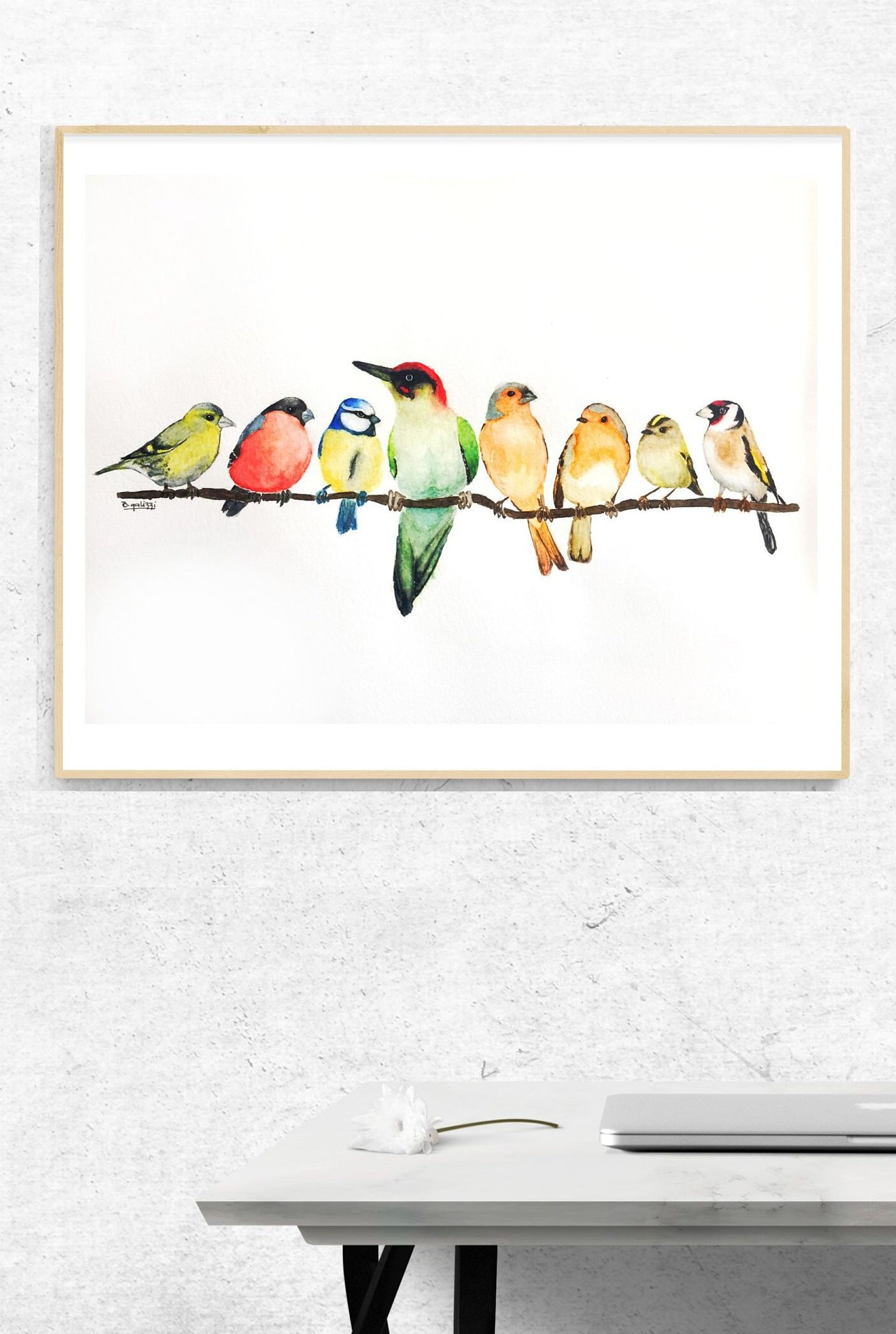 British Garden Birds Art Print Room Decor Garden Birds Painting